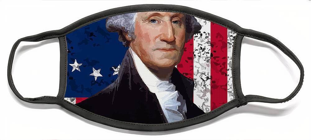 George Washington Face Mask featuring the painting Washington and The American Flag by War Is Hell Store