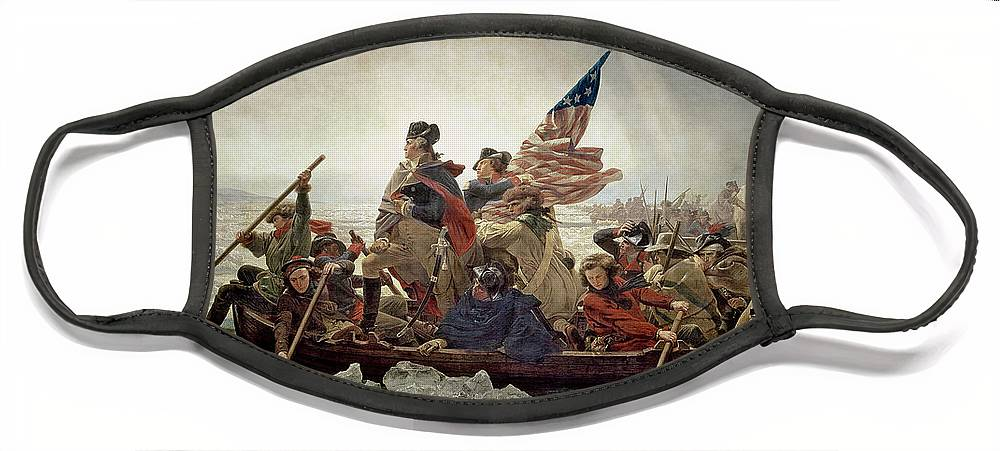 Washington Face Mask featuring the painting Washington Crossing the Delaware River by Emanuel Gottlieb Leutze