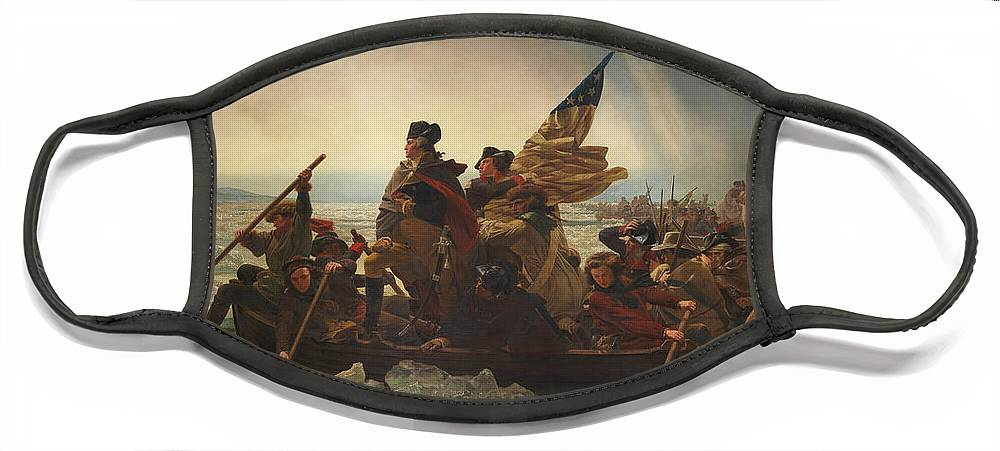 George Washington Face Mask featuring the painting Washington Crossing The Delaware by War Is Hell Store