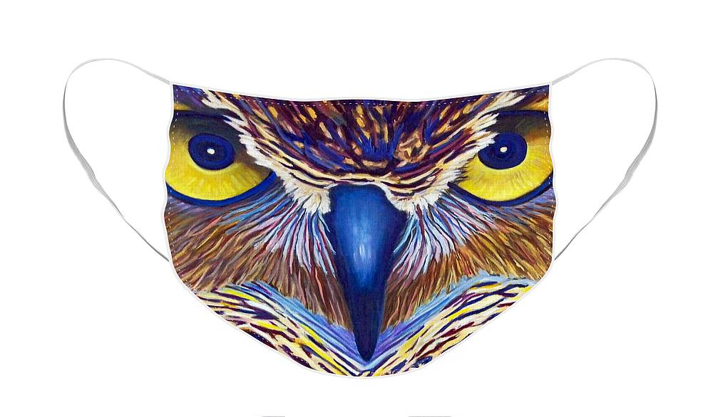 Owl Face Mask featuring the painting Watching by Brian Commerford