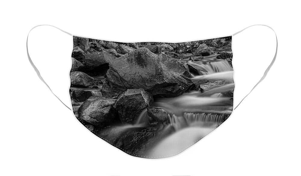 Creek Face Mask featuring the photograph Water Falling On Boulder Creek in Black and White by James BO Insogna