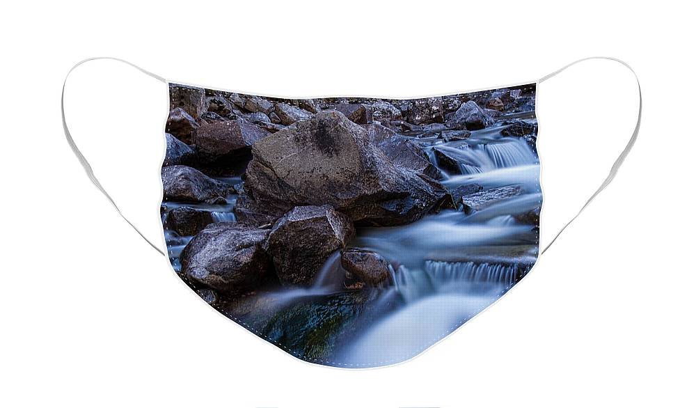 Creek Face Mask featuring the photograph Water Falling On Boulder Creek by James BO Insogna