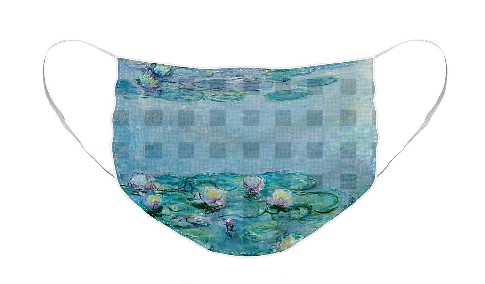 French Face Mask featuring the painting Water Lilies by Claude Monet