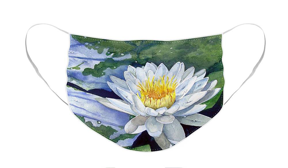 Flower Face Mask featuring the painting Water Lily by Sam Sidders