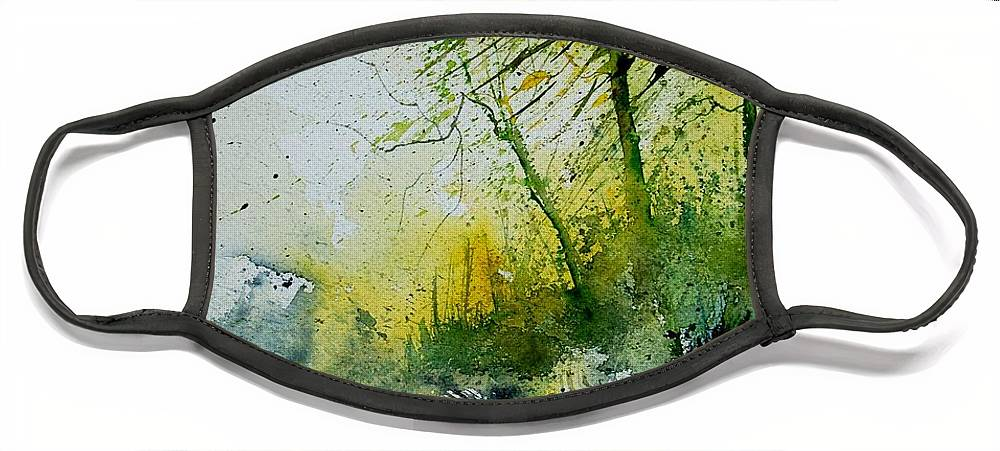 River Face Mask featuring the painting Watercolor 181207 by Pol Ledent