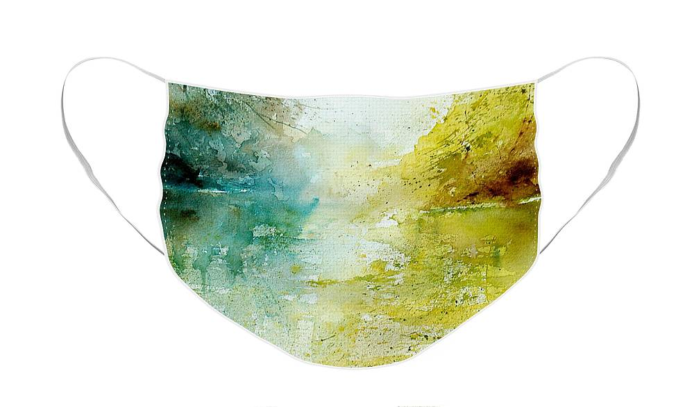 Pond Nature Landscape Face Mask featuring the painting Watercolor 24465 by Pol Ledent