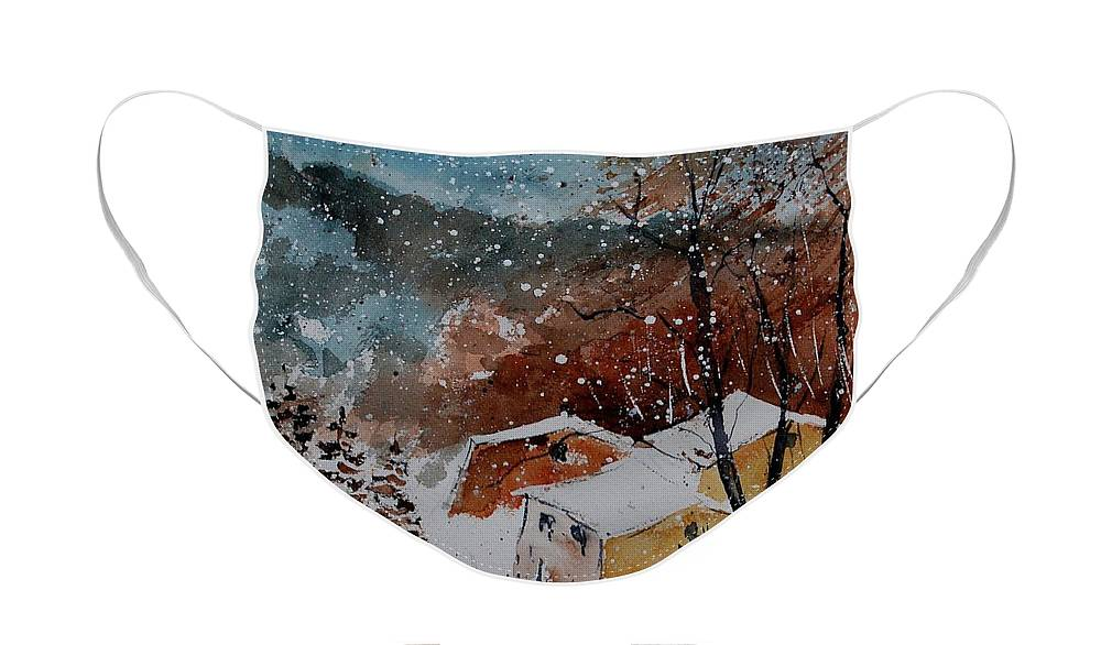Winter Face Mask featuring the painting Watercolor 902113 by Pol Ledent