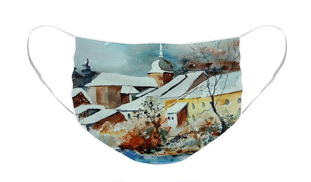 Landscape Face Mask featuring the painting Watercolor Chassepierre by Pol Ledent