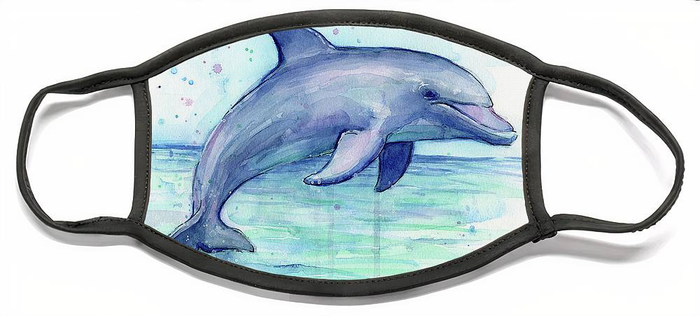 Dolphin Face Mask featuring the painting Watercolor Dolphin Painting - Facing Right by Olga Shvartsur