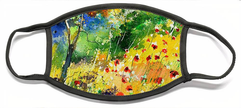 Poppies Face Mask featuring the painting Watercolor poppies 518001 by Pol Ledent