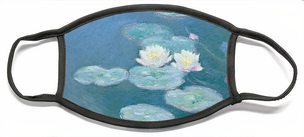 Waterlilies Face Mask featuring the painting Waterlilies Evening by Claude Monet