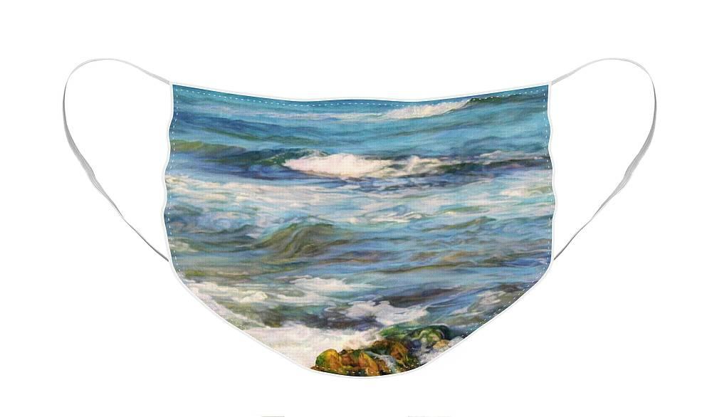 Waves Face Mask featuring the painting Sea waves ... by Maya Bukhina
