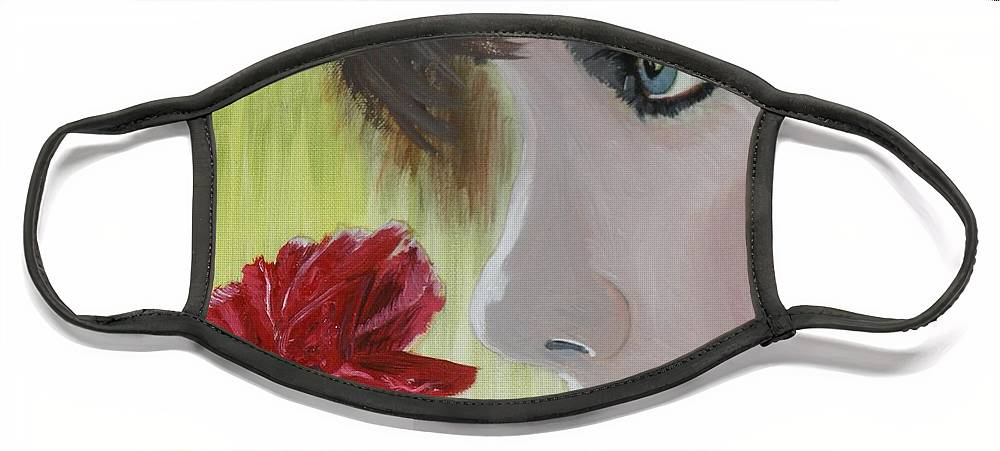 Romance Face Mask featuring the painting Wedding Rose by J Bauer
