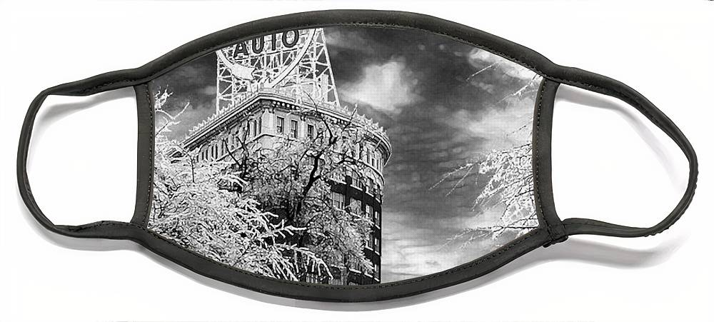 Western Auto Kansas City Face Mask featuring the photograph Western Auto In Winter by Steve Karol