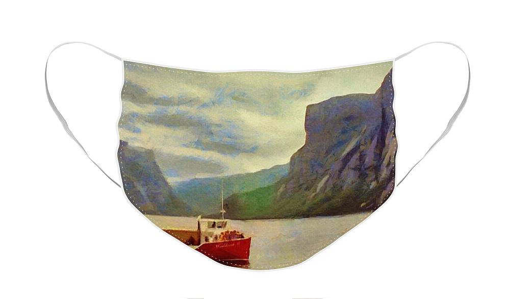 Appalachian Face Mask featuring the painting Western Brook Pond by Jeffrey Kolker
