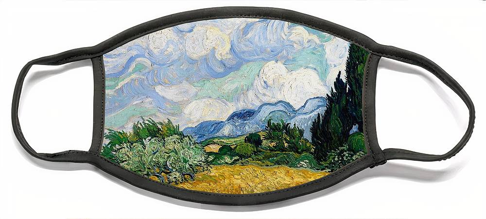 Vincent Van Gogh Face Mask featuring the painting Wheatfield With Cypresses by Van Gogh