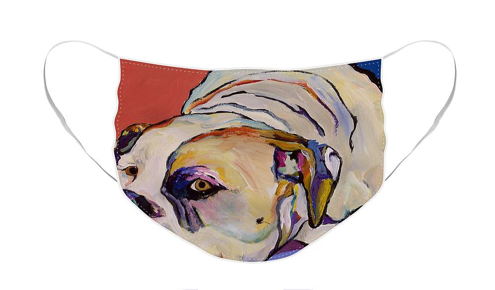 American Bulldog Face Mask featuring the painting Where Is My Dinner by Pat Saunders-White