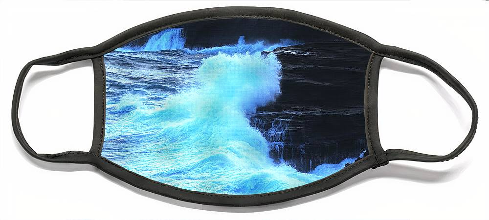 Ocean Face Mask featuring the photograph Where The Land Meets The Ocean by Richard Henne