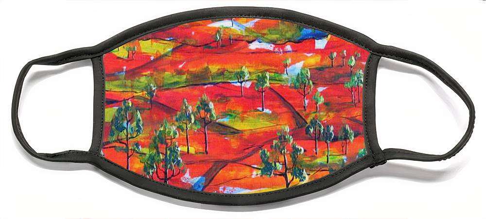 Landscape Face Mask featuring the painting Where The Road Goes   by Rollin Kocsis