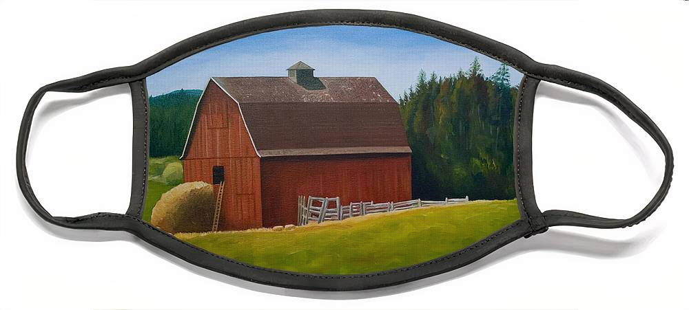 Landscape Face Mask featuring the painting Whidbey Island Barn by Stephen Degan