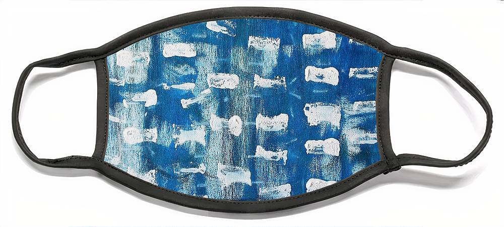 Blue Face Mask featuring the painting Whispering Pines by Pam Roth O'Mara