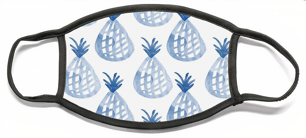 Pineapple Face Mask featuring the mixed media White and Blue Pineapple Party by Linda Woods