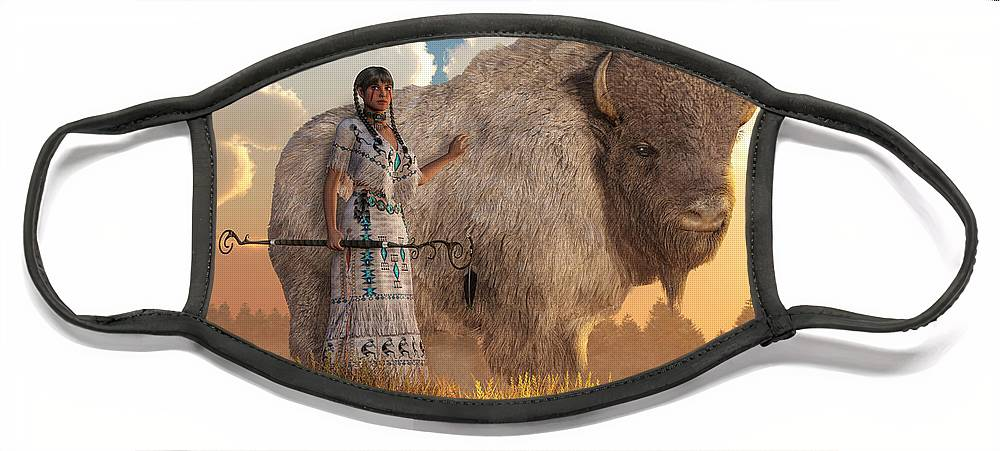 White Buffalo Calf Woman Face Mask featuring the digital art White Buffalo Calf Woman by Daniel Eskridge