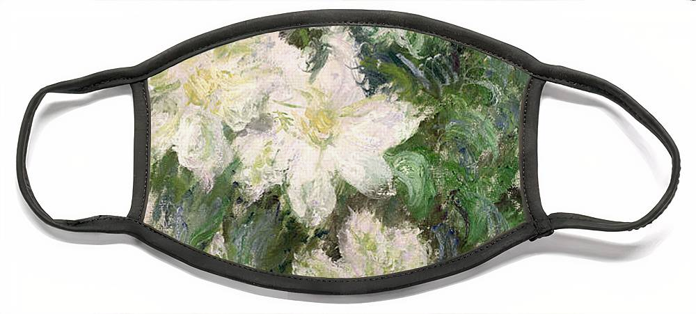 White Clematis Face Mask featuring the painting White Clematis by Claude Monet