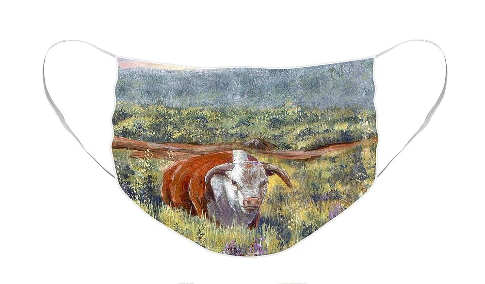 Hereford Bull Face Mask featuring the painting White Face Bull by Peggy Conyers
