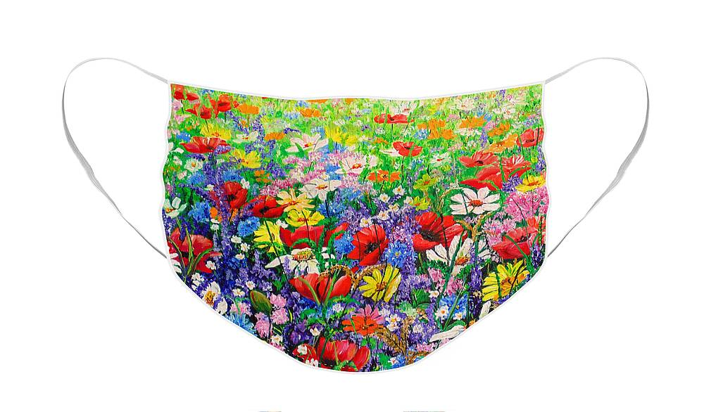 Wild Flowers Face Mask featuring the painting Wild Flower Meadow by Karin Dawn Kelshall- Best