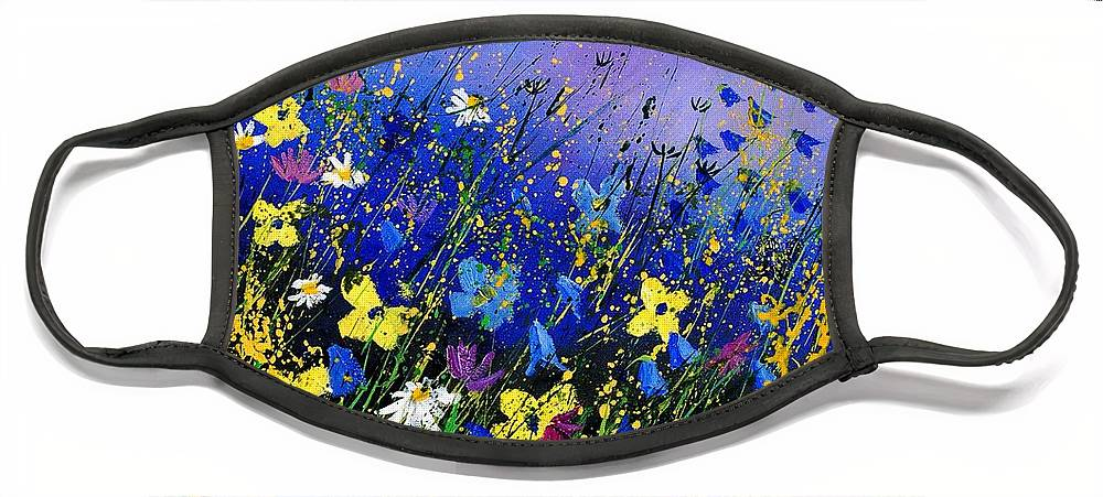 Flowers Face Mask featuring the painting Wild flowers 560908 by Pol Ledent
