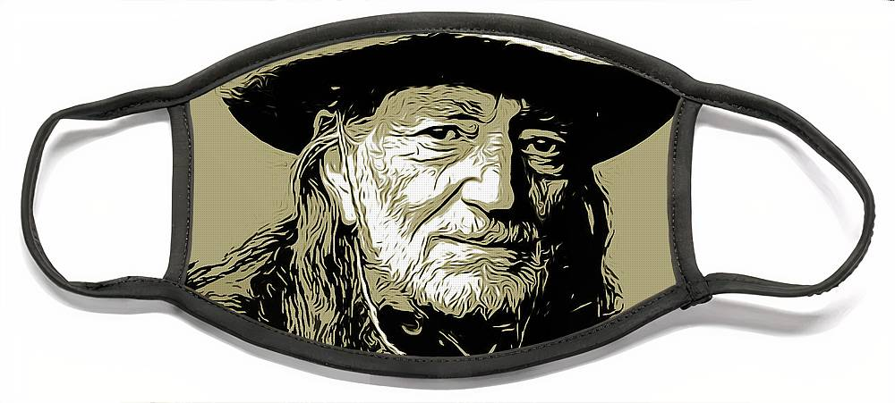 Willie Nelson Face Mask featuring the mixed media Willie by Greg Joens