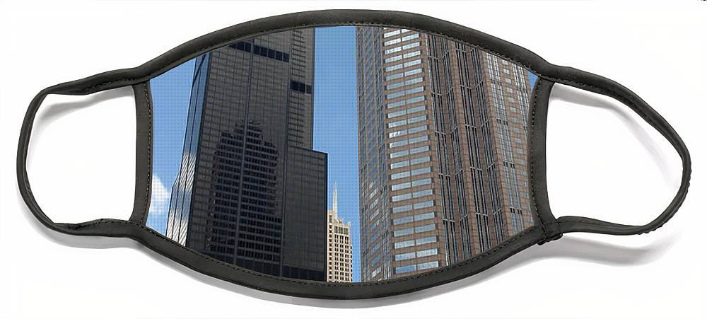 3scape Face Mask featuring the photograph Willis Tower aka Sears Tower and 311 South Wacker Drive by Adam Romanowicz