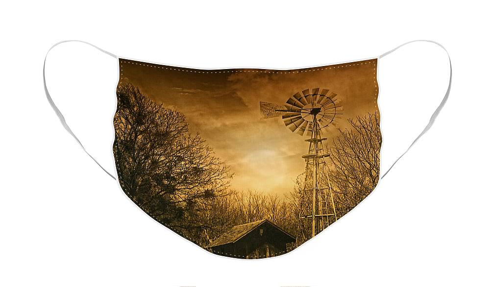 Windmill Face Mask featuring the photograph Windmill at Sunset by Iris Greenwell
