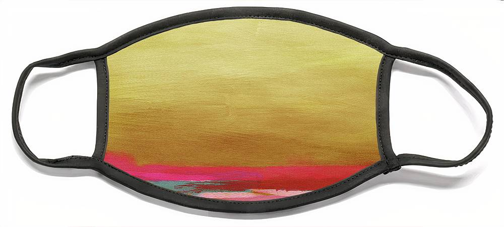 Abstract Face Mask featuring the mixed media Windswept Sunrise- Art by Linda Woods by Linda Woods