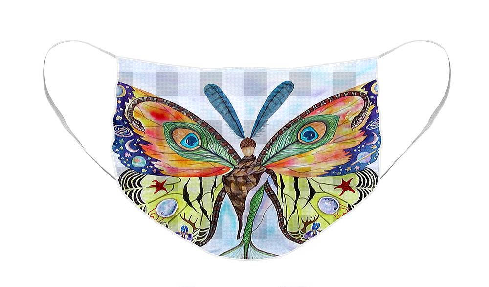Butterfly Face Mask featuring the painting Winged Metamorphosis by Lucy Arnold