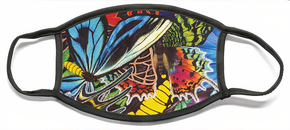 Butterflies Face Mask featuring the painting Wings of Utopia by Lucy Arnold