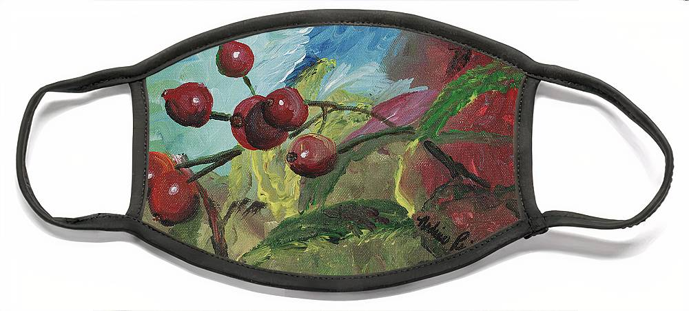 Berries Face Mask featuring the painting Winter Berries by Nadine Rippelmeyer