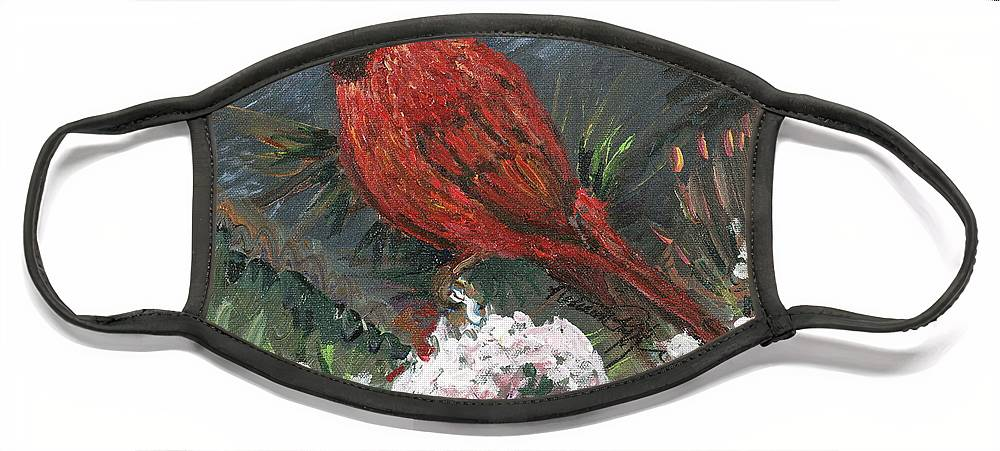 Bird Face Mask featuring the painting Winter Cardinal by Nadine Rippelmeyer