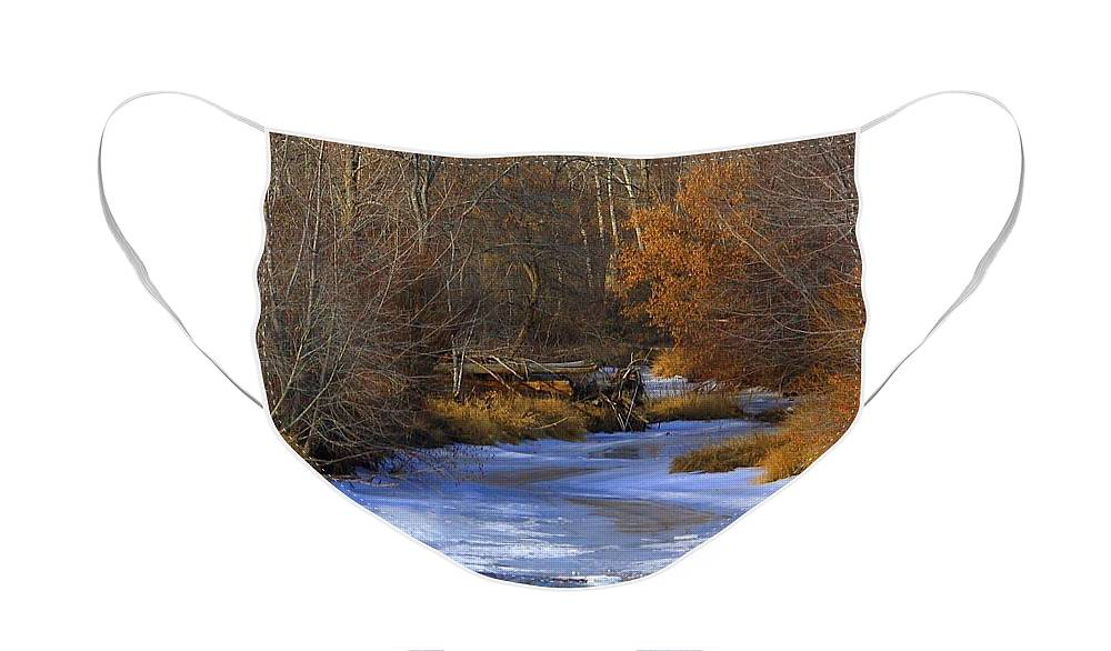 Yakima Face Mask featuring the photograph Winter Gold on the Yakima River by Carol Groenen