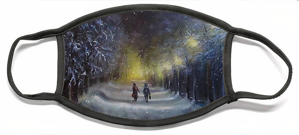 Night Lights Face Mask featuring the painting Winter night walk by Natalja Picugina