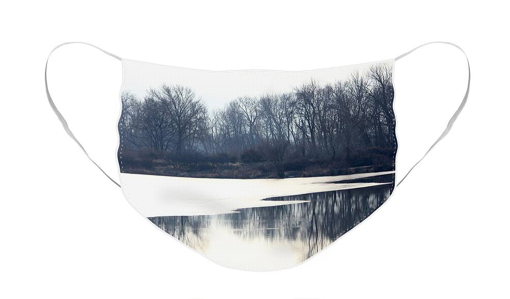 Yakima Face Mask featuring the photograph Winter Reflection on the Yakima River by Carol Groenen