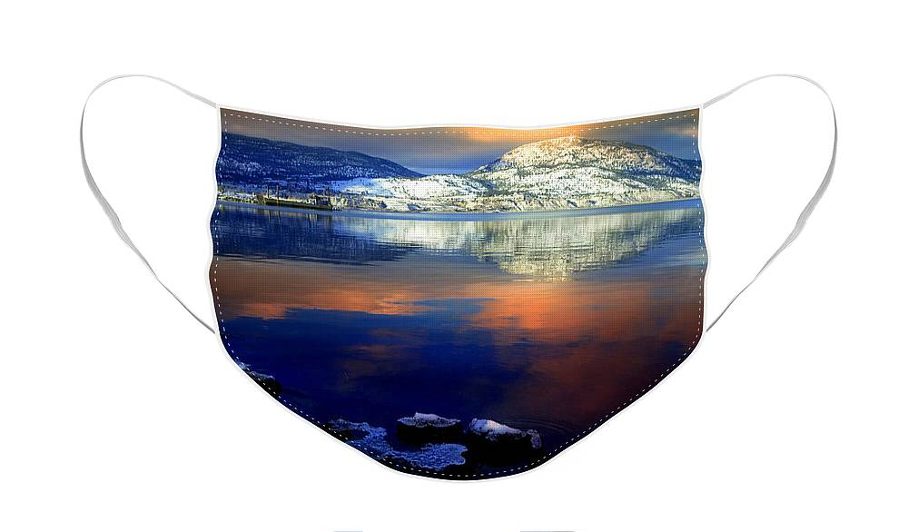Winter Face Mask featuring the photograph Winter Skies and a Snowy Shore by Tara Turner