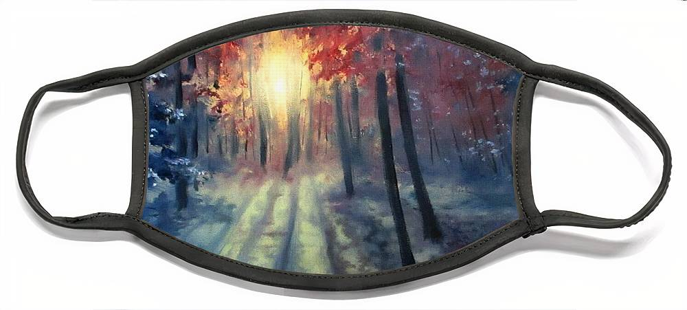 Sunset Face Mask featuring the painting Winter sunset by Natalja Picugina