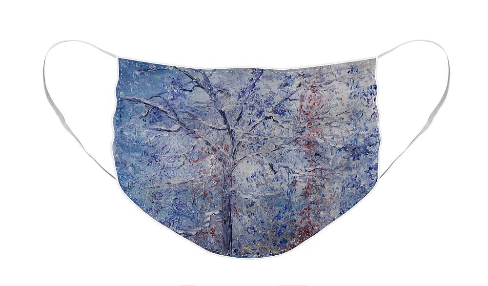 Winter Face Mask featuring the painting Winter Trees by Nadine Rippelmeyer
