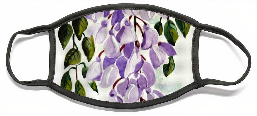 Floral Paintings Flower Paintings Wisteria Paintings Botanical Paintings Flower Purple Paintings Greeting Card Paintings  Face Mask featuring the painting Wisteria by Karin Dawn Kelshall- Best