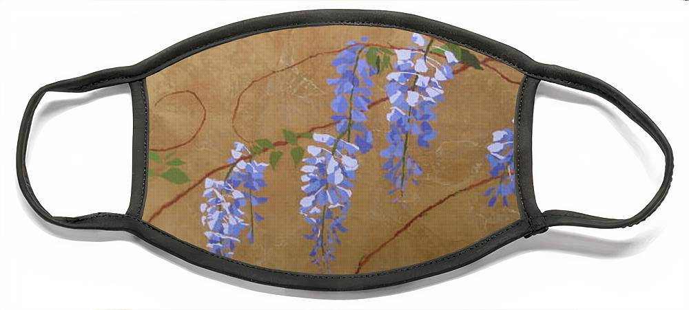 Periwinkle Wisteria Flowers Face Mask featuring the painting Wisteria by Leah Tomaino