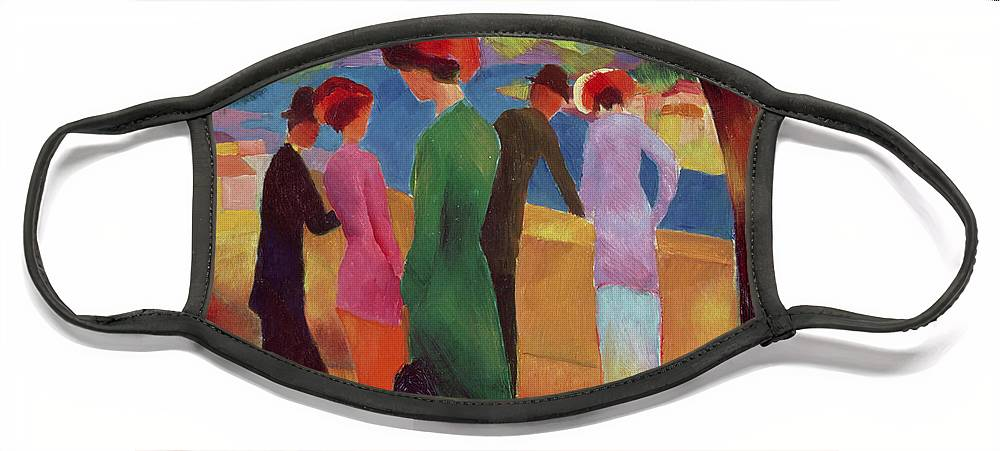 Woman Face Mask featuring the painting Woman in a Green Jacket by August Macke