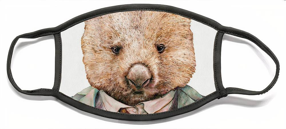 Wombat Face Mask featuring the painting Wombat by Animal Crew