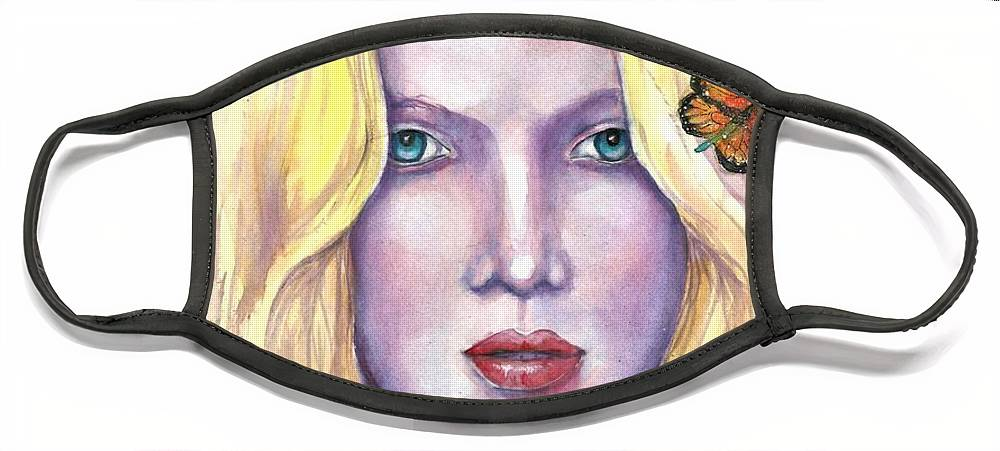 Original Painting Face Mask featuring the painting Women Face beauty by Natalja Picugina